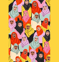 Muslim women in hijab arab girl in coolor vector