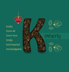 Name day greeting card with flowers and letter k vector