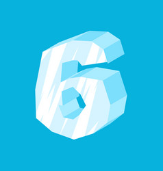 Number 6 ice icicles font six frozen alphabet vector