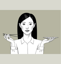 Oriental girl with long hair holds chopsticks and vector