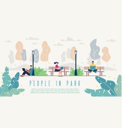 People in city park flat website template vector