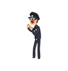 police officer in blue uniform and sunglasses vector image
