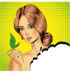 Pop art beautiful woman holding green tea vector
