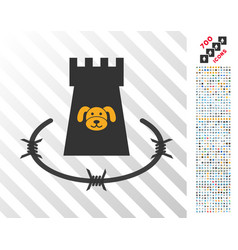 Puppycoin barbwire bulwark flat icon with bonus vector