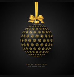 realistic christmas black bauble vector image