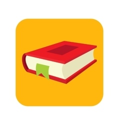 Red book with bookmark flat icon vector