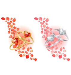 rings and rose petals vector image