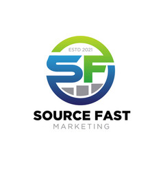 S f marketing logo designs for business service vector