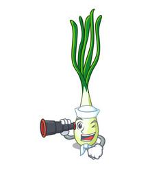 Sailor with binocular cartoon fresh spring onion vector