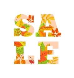 Sale word from colorful leaves vector