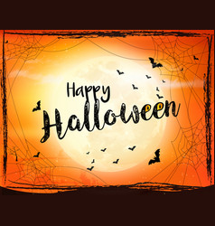 scary halloween background with bat spider and vector image