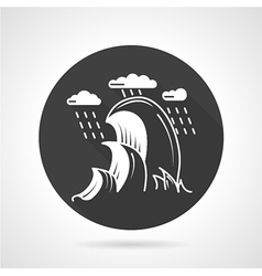 Sea waves black round icon vector image