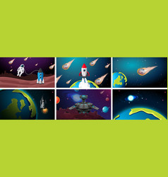 Set earth rocket and asteroid scenes vector