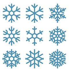 set nine snowflakes thin line ftat design vector image