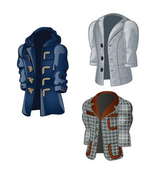 Set of animated vintage mens coats isolated vector