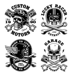 set of biker skulls vector image
