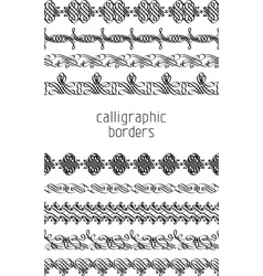 set of calligraphic borders vector image