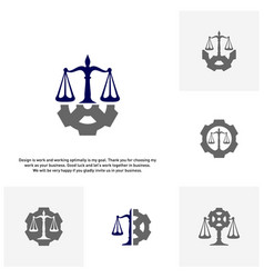 Set of law firm with gear logo design template vector