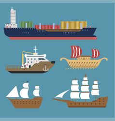 ship cruiser boat sea symbol vessel travel vector image