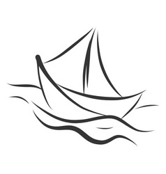 simple black and white tattoo sketch a ship on vector image