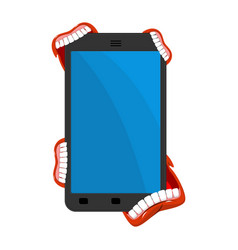 smartphone is infected with viruses virus is eat vector image