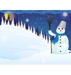 Snowman in the woods vector image