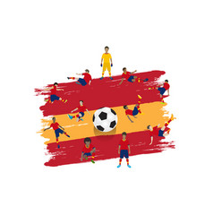 soccer player team with spain flag background vector image
