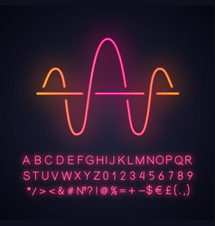 Soundwave neon light icon function and axis music vector