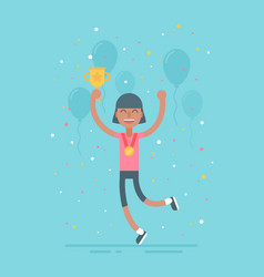 sporty girl with cup competition winner vector image