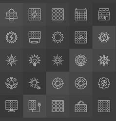 Sun and solar panel icons vector