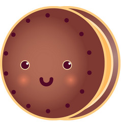 Sweet cute round choclate tasty cookie vector
