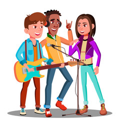 teen rock band playing music on guitar vector image