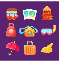 Travelling Related Objects Colorful Simplified vector