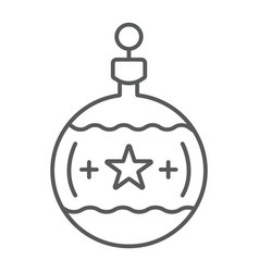 Tree ball thin line icon christmas and new year vector
