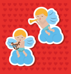 two cupid sitting in clouds making music vector image