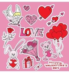 Vallentines day doodles set vector image