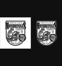 vintage custom motorcycle monochrome label vector image