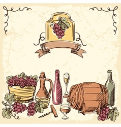 Wine vintage hand drawn vector image