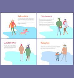 wintertime mother with kid sitting on sledges vector image