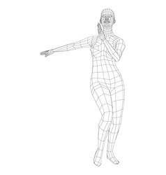 Wireframe ballerina in dance pose vector