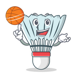 With basketball shuttlecock character cartoon vector