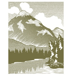 Woodcut wilderness lake vector