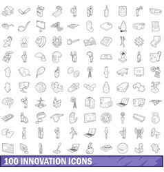 100 innovation icons set outline style vector image vector image