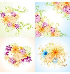 Four floral designs vector image vector image