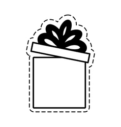 Gift box ribbon black bow open cut line vector
