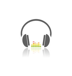 headphones with music icon on white background vector image vector image
