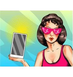 pop art of woman with digital vector image vector image