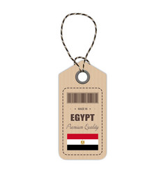 hang tag made in egypt with flag icon isolated on vector image vector image