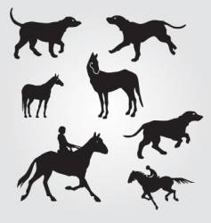 horses and hunting dogs vector image