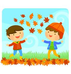 kids enjoying autumn vector image vector image